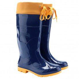 bota galocha azul amarela com amarra - arkuero  para chuva moto sítio