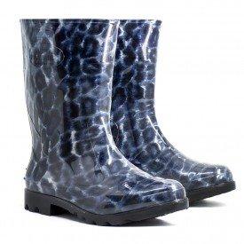 Bota galocha onca a oncinha bota feminina arkuero Azul cano curto