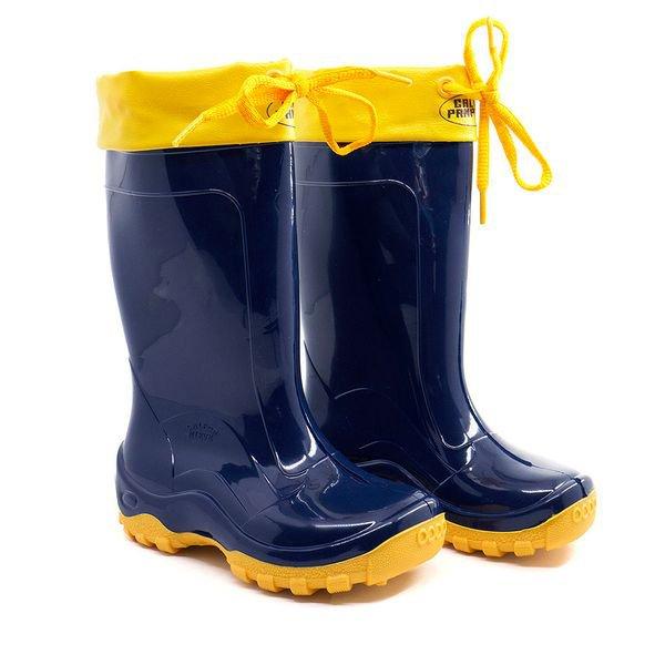 bota azul infantil amarra amarela galocha infantil