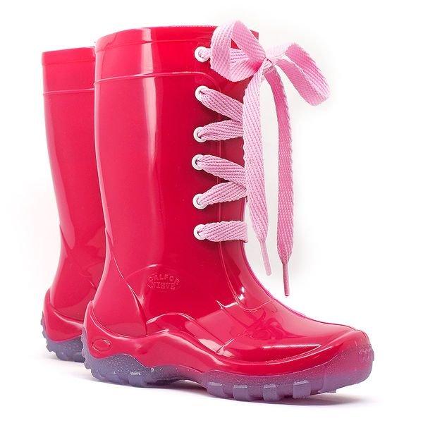 bota galocha infantil cadarc o amarra lac o kids splash pink chuva impermeavel lila s 3