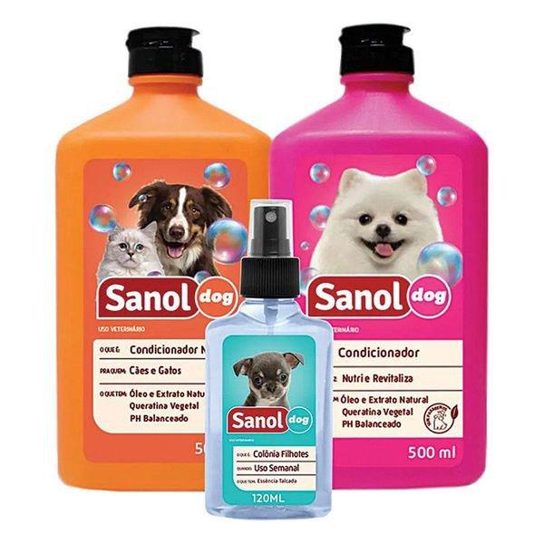 kit shampoo colonia e condicionador sanol dog 9196 1500310573