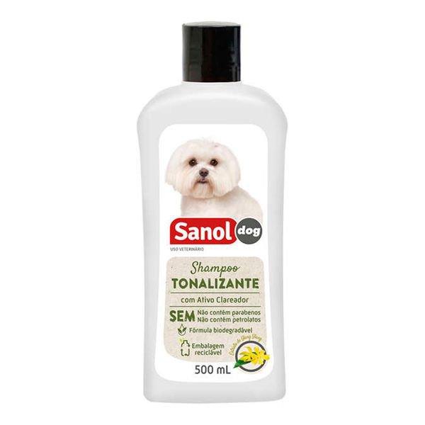 shampoo sanol dog tonalizante pelos claros 500 ml 3103145